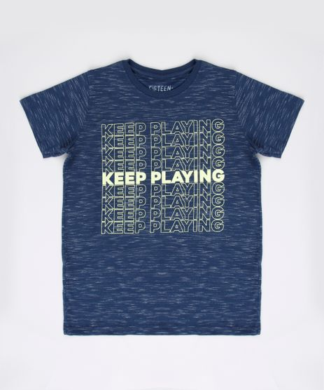 Camiseta-Infantil--Keep-Playing--Manga-Curta-Azul-Marinho-9629775-Azul_Marinho_1