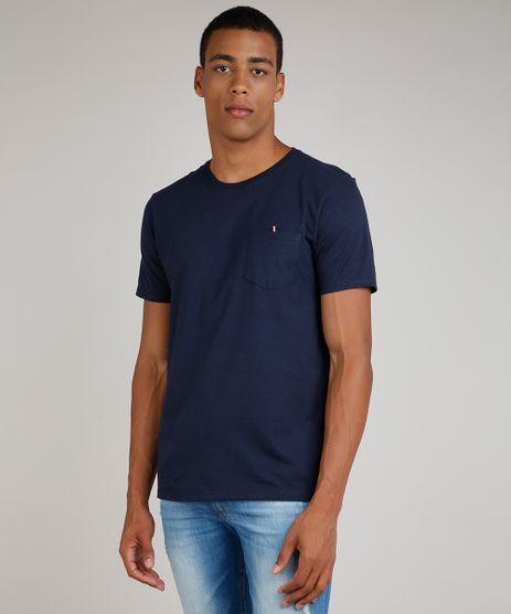 Camiseta-Masculina-com-Bolso-Manga-Curta-Gola-Careca-Azul-Marinho-9731014-Azul_Marinho_1