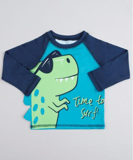 Camiseta-de-Praia-Infantil-Raglan-Dinossauro-Manga-Longa-Verde-9803484-Verde_1
