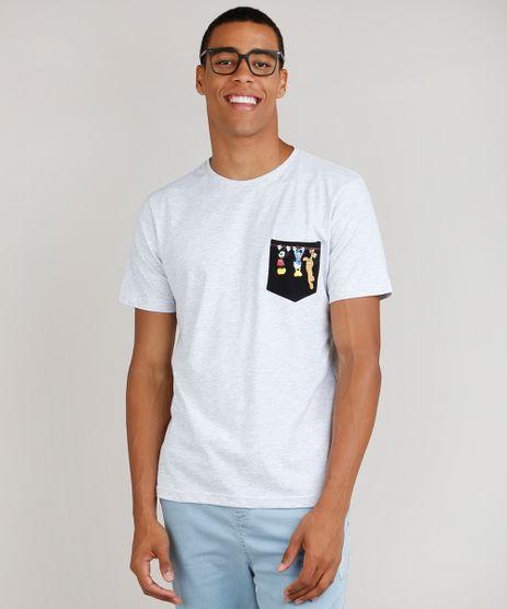 Camiseta-Masculina-Turma-do-Mickey-com-Bolso-Manga-Curta-Gola-Careca-Cinza-Mescla-Claro-9754411-Cinza_Mescla_Claro_1