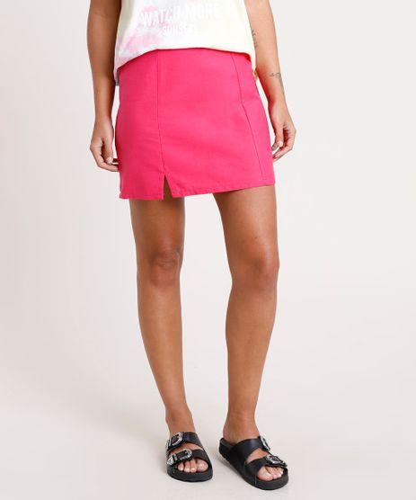Saia-Feminina-Curta-com-Fenda-Pink-9847876-Pink_1