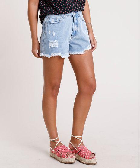 Short-Jeans-Feminino-Cintura-Super-Alta-Destroyed-com-Barra-Desfiada-Azul-Claro-9833794-Azul_Claro_1