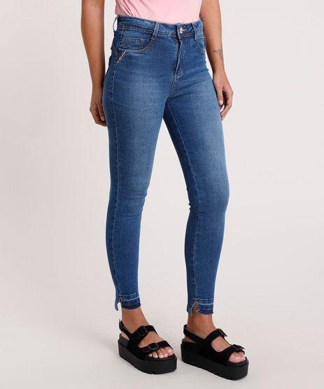 Calca-Jeans-Feminina-Sawary-Cigarrete-Cintura-Alta-com-Tachas-Azul-Medio-9857030-Azul_Medio_1