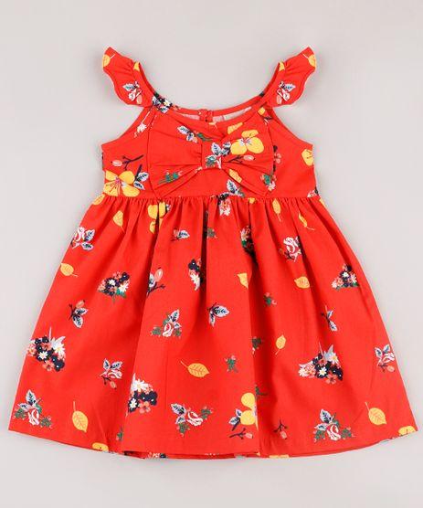 Vestido-Infantil-Estampado-Floral-com-Laco-e-Babado-Sem-Manga-Vermelho-9740371-Vermelho_1
