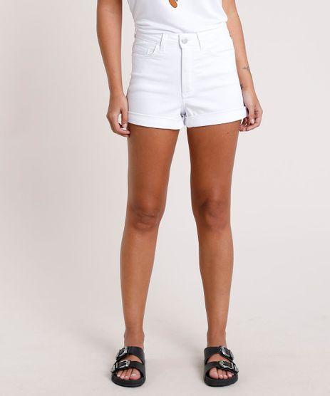 Short-de-Sarja-Feminino-Hot-Pant-Cintura-Super-Alta-com-Barra-Dobrada-Branco-9830131-Branco_1