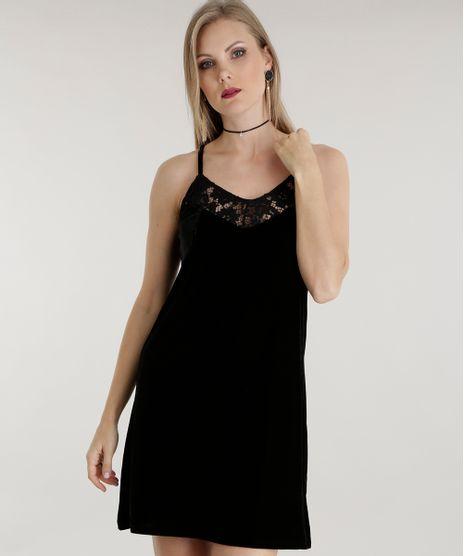 Vestido-em-Veludo-com-Renda-Preto-8511208-Preto_1
