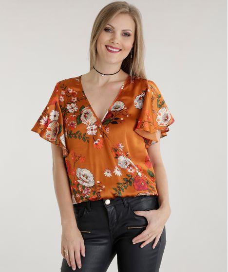 bc630051ec Blusa-Acetinada-Estampada-Floral-Caramelo-8541074-Caramelo 1 ...