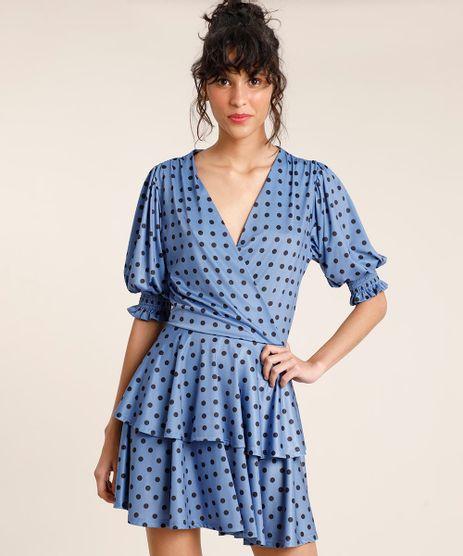 Vestido-Feminino-Mindset-Curto-Transpassado-Estampado-de-Poa-em-Camadas-Manga-Bufante-Azul-9901890-Azul_1