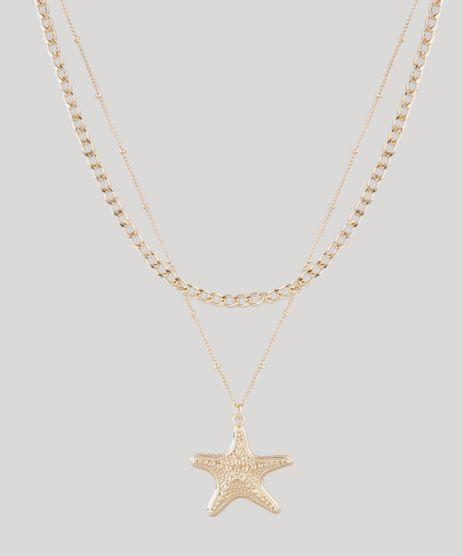 Colar-Feminino-Duplo-com-Pingente-de-Estrela-do-Mar-Dourado-9761531-Dourado_1