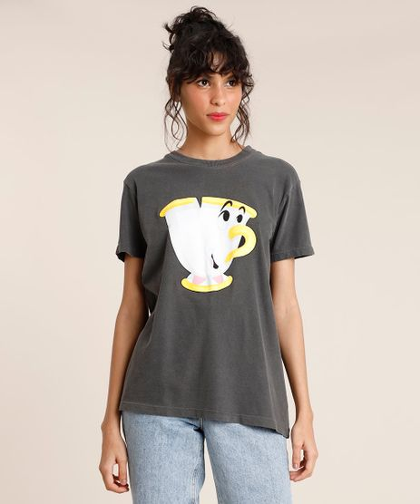 T-Shirt-Feminina-Mindset-Zip-A-Bela-e-A-Fera-Manga-Curta-Decote-Redondo-Chumbo-9886838-Chumbo_1
