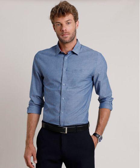 Camisa-Social-Masculina-Slim-com-Bolso-Manga-Longa-Azul-9690633-Azul_1