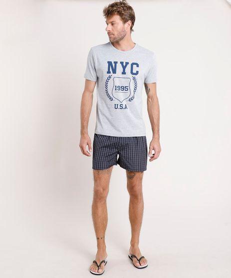 Pijama-Masculino--NYC--com-Camiseta-Manga-Curta---Samba-Cancao-Listrado-Cinza-Mescla-Claro-9644487-Cinza_Mescla_Claro_1