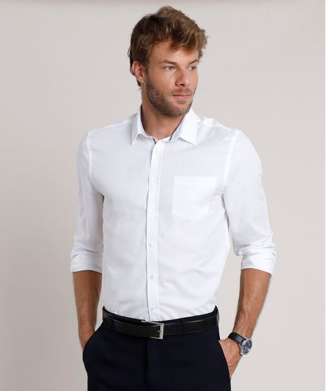 Camisa-Social-Masculina-Comfort-Maquinetada-com-Bolso-Manga-Longa-Branca-9690634-Branco_1