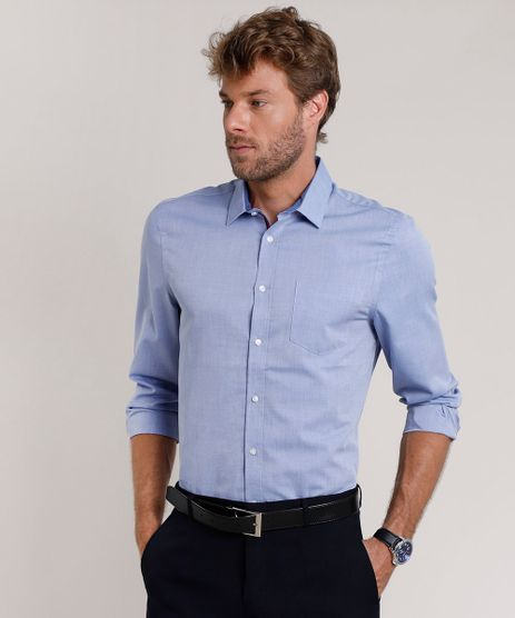 Camisa-Social-Masculina-Comfort-com-Bolso-Manga-Longa-Azul-9690632-Azul_1