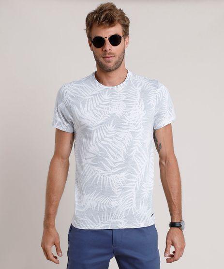 Camiseta-Masculina-Slim-Fit-Estampada-de-Folhagem-Manga-Curta-Gola-Careca-Cinza-Mescla-Claro-9748094-Cinza_Mescla_Claro_1