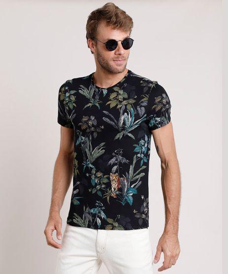 Camiseta-Masculina-Slim-Fit-Estampada-de-Tigre-com-Folhagem-Manga-Curta-Gola-Careca-Preta-9724023-Preto_1