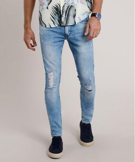 Calca-Jeans-Masculina-Skinny-com-Rasgos-Azul-Medio-9844743-Azul_Medio_1