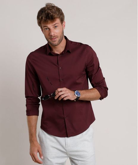 Camisa-Social-Masculina-Slim-Manga-Longa-Vinho-9664861-Vinho_1