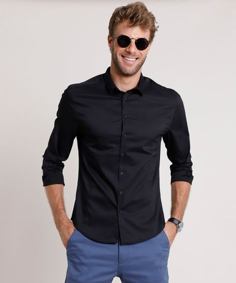 Camisa-Social-Masculina-Slim-Manga-Longa-Preta-9664861-Preto_1