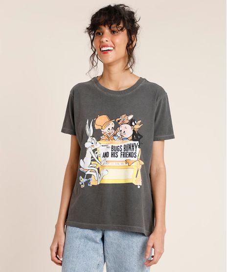 T-Shirt-Feminina-Mindset-Looney-Tunes-Manga-Curta-Decote-Redondo-Chumbo-9886839-Chumbo_1