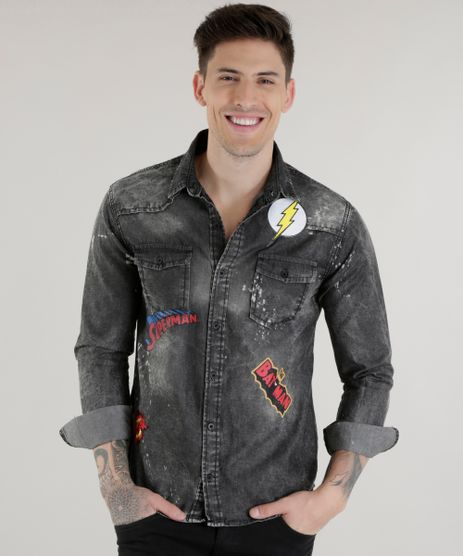 a047071799 Camisa-Jeans-Liga-da-Justica-Preta-8606115-Preto 1