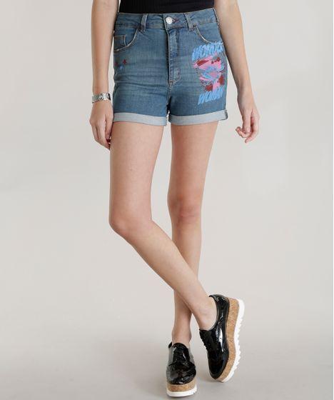 Algodao Mais Sustentavel. Short-Hot-Pant-Jeans-Mulher-Maravilha-Azul-Medio-  ... 0bbe19899468c