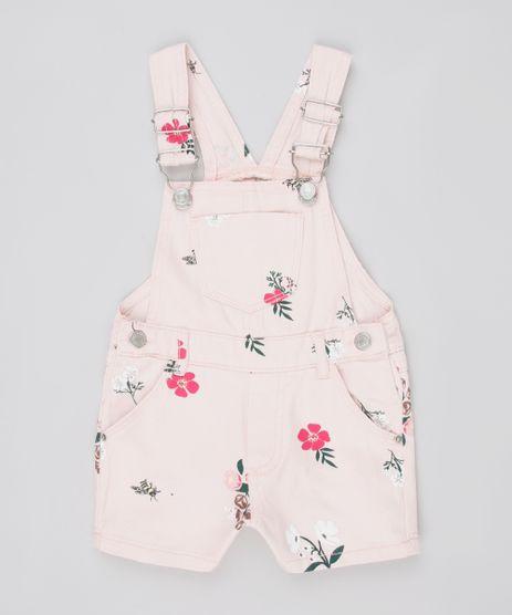 Jardineira-de-Sarja-Infantil-Estampada-Floral-com-Bolsos-Rosa-Claro-9845712-Rosa_Claro_1