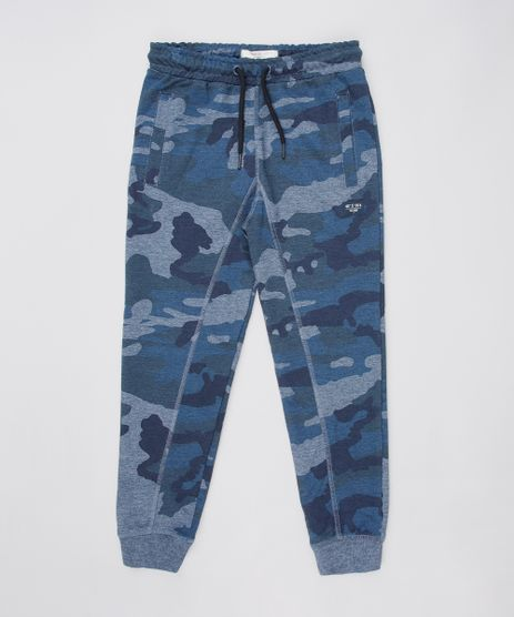 Calca-Infantil-Jogger-Estampada-Camuflada-em-Moletom-Azul-Marinho-9659784-Azul_Marinho_1