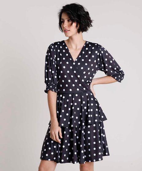 Vestido-Feminino-Mindset-Curto-Transpassado-em-Camadas-Estampado-de-Poa-Manga-Bufante-Preto-9901895-Preto_1