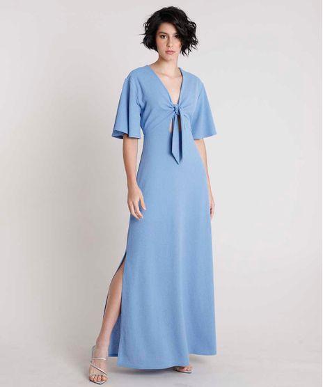 Vestido-Feminino-Mindset-Longo-com-No-Manga-Curta-Azul-Claro-9901897-Azul_Claro_1