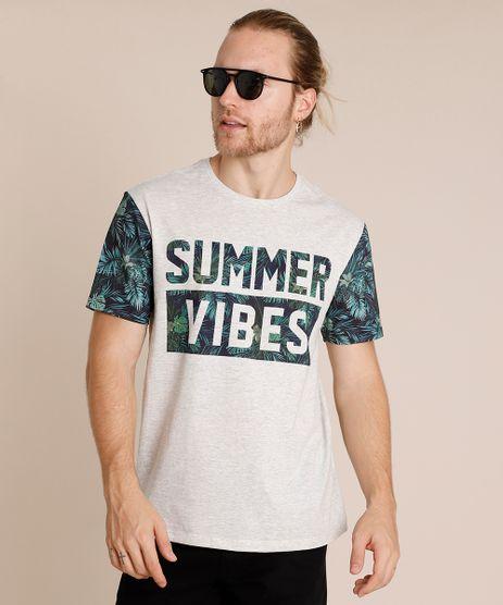 Camiseta-Masculina--Summer-Vibes--com-Estampa-de-Folhagem-Manga-Curta-Gola-Careca-Cinza-Mescla-Claro-9760045-Cinza_Mescla_Claro_1
