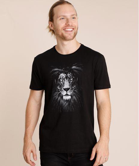 Camiseta-Masculina-Leao-Manga-Curta-Gola-Careca-Preta-9852342-Preto_1