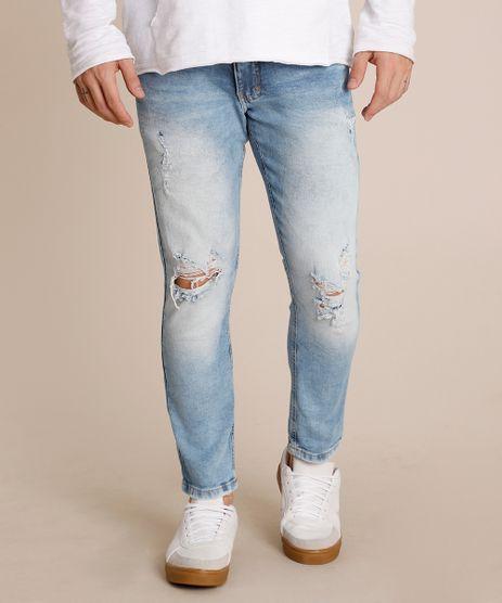 Calca-Jeans-Masculina-Slim-Destroyed-Azul-Claro-9829361-Azul_Claro_1