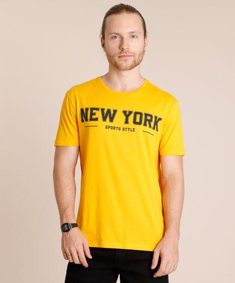 Camiseta-Masculina--New-York--Manga-Curta-Gola-Careca-Mostarda-9726516-Mostarda_1