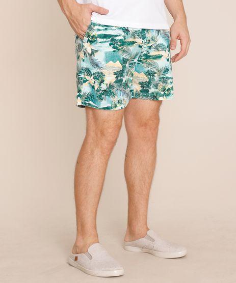 Bermuda-Masculino-Reta-Estampado-Floral-com-Bolso-Verde-9759782-Verde_1