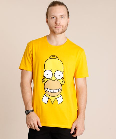 Camiseta-Masculina-Homer-Simpson-Manga-Curta-Gola-Careca-Mostarda-9852346-Mostarda_1
