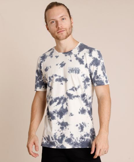 Camiseta-Masculina--Creative-Mind--Estampada-Tie-Dye-Manga-Curta-Gola-Careca-Off-White-9800795-Off_White_1