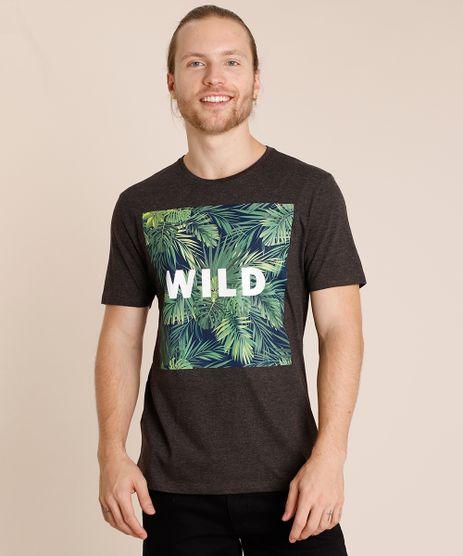 Camiseta-Masculina--Wild--Folhagem-Manga-Curta-Gola-Careca-Cinza-Mescla-Escuro-9726527-Cinza_Mescla_Escuro_1