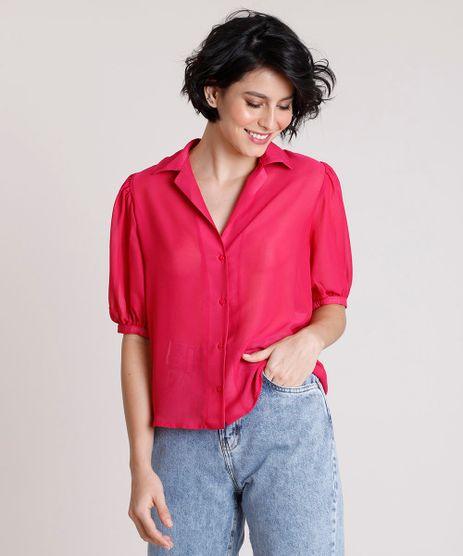 Camisa-Feminina-Mindset-Ampla-com-Transparencia-Manga-Bufante-Rosa-Escuro-9909286-Rosa_Escuro_1