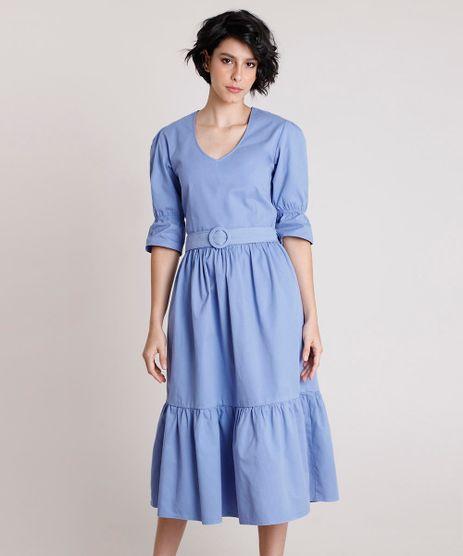 Vestido-de-Sarja-Feminino-Mindset-Midi-com-Cinto-Manga-Curta-Lilas-9901903-Lilas_1