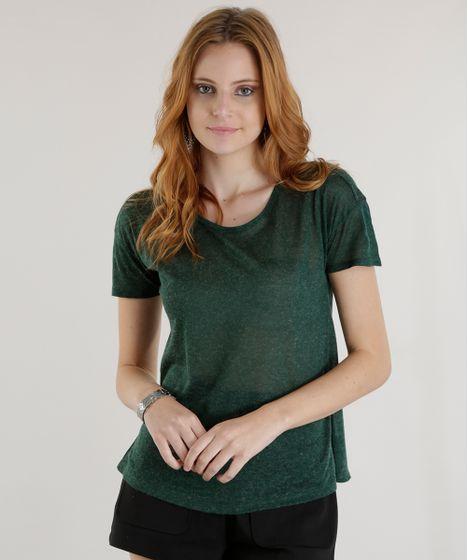 810ef7341c cea · Moda Feminina · Blusas. Blusa-Flame-Basica-Verde-Escuro-8625938-Verde Escuro 1  ...
