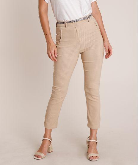 Calca-Feminina-Skinny-Texturizada-Cintura-Alta-com-Cinto-Bege-9688116-Bege_1