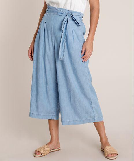 Calca-Jeans-Feminina-Pantacourt-Clochard-com-Faixa-para-Amarrar-Azul-Claro-9836764-Azul_Claro_1