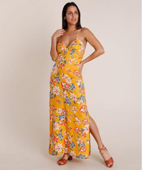 Vestido-Feminino-Longo-Estampado-Floral-com-Fenda-Alca-Fina-Decote-V-Amarelo-9852145-Amarelo_1