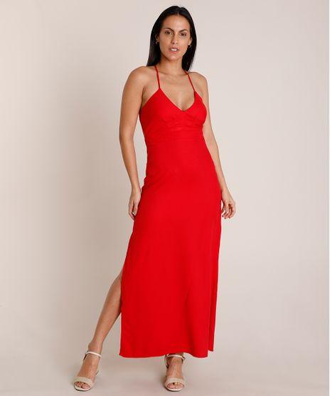 Vestido-Feminino-Longo-com-Fenda-Alca-Fina-Decote-V-Vermelho-9852146-Vermelho_1