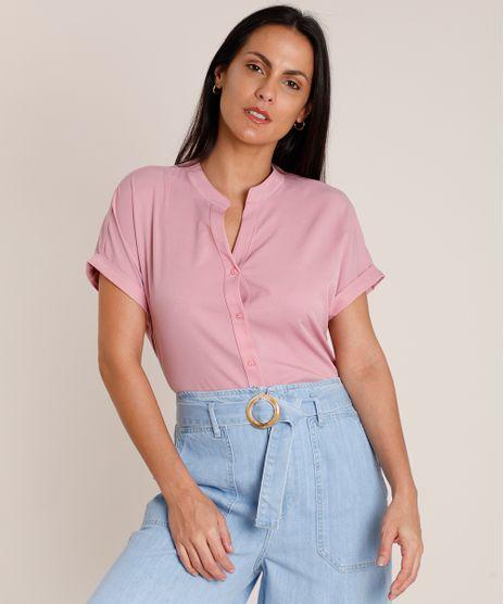 Camisa-Feminina-Ampla-Manga-Curta-Gola-Padre-Rosa-9851434-Rosa_1