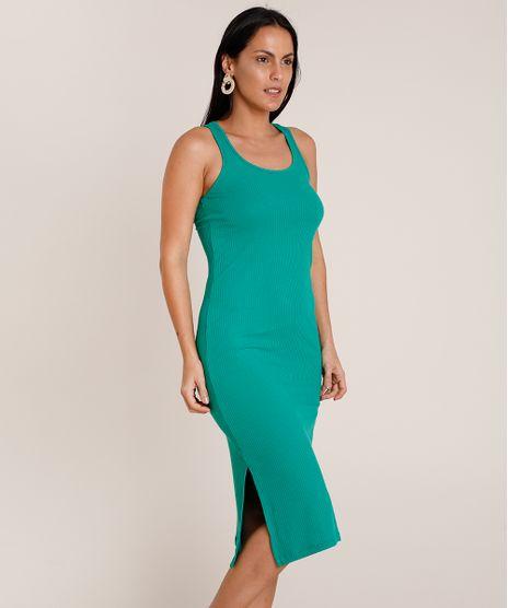 Vestido-Feminino-Midi-Canelado-Sem-Manga-Decote-Nadador-Verde-9900592-Verde_1