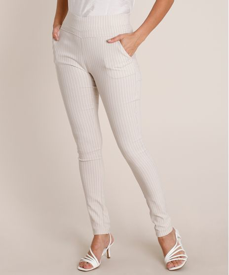 Calca-Feminina-Legging-Cintura-Alta-Estampada-Risca-de-Giz-em-Jacquard-com-Bolsos-Bege-Claro-9689661-Bege_Claro_1