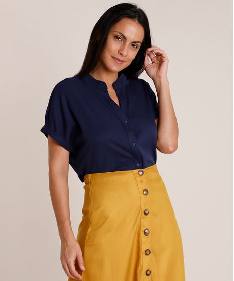 Camisa-Feminina-Ampla-Manga-Curta-Gola-Padre-Azul-Marinho-9851434-Azul_Marinho_1