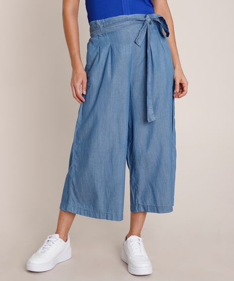 Calca-Jeans-Feminina-Pantacourt-Clochard-com-Faixa-para-Amarrar-Azul-Medio-9836758-Azul_Medio_1